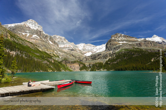 Canoes on the Dock at Lake O'Hara Lodge
